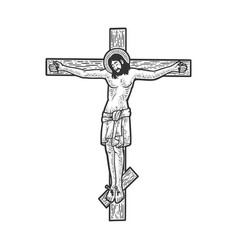 jesus christ on cross sketch vector image