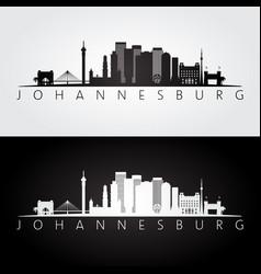 Johannesburg skyline and landmarks silhouette vector