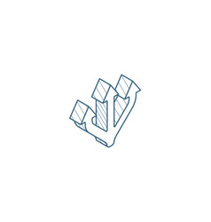 junction separation three way isometric icon 3d vector image