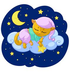 Kitty sleeping cartoon vector