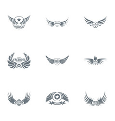 Liberty wing logo set simple style vector
