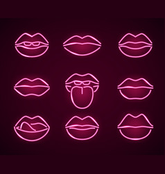 lips neon signs thin line icon set vector image