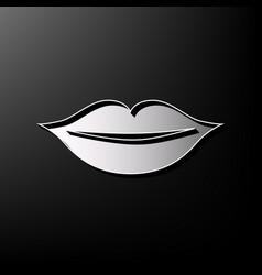 Lips sign gray 3d printed vector