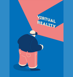 man wears vr virtual reality goggles glasses vector image