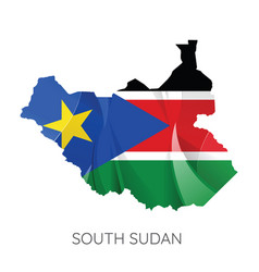 map south sudan with flag vector image