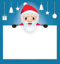 merry christmas santa claus with blank signboard vector image