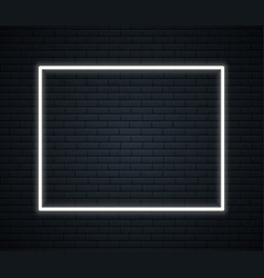 neon frame with space for text on brick wall neon vector image