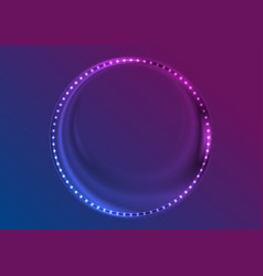 neon led lights abstract circle frame background vector image