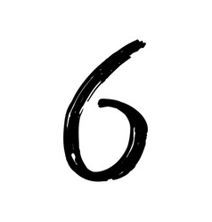 number 6 painted by brush vector image