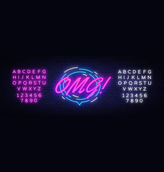 omg neon text comic lettering omg neon vector image