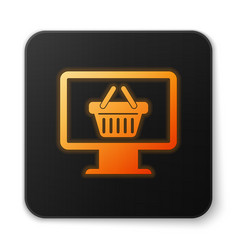 Orange glowing computer monitor with shopping vector