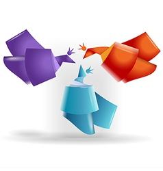 Origami birds symbols vector