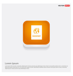 passport icon web orange abstract web button vector image