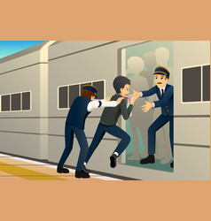 people running late at train station vector image