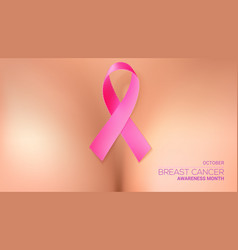 Pink ribbon onto woman breasts world breast vector