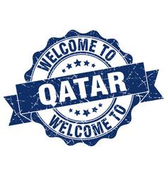 qatar round ribbon seal vector image