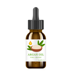 Realistic brown glass bottle with argan extract vector