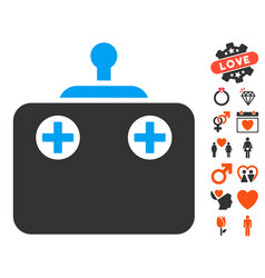 Remote control icon with valentine bonus vector