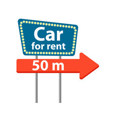 Rent car road sign icon vector