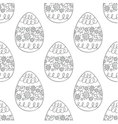 Seamless pattern with doodle easter eggs vector
