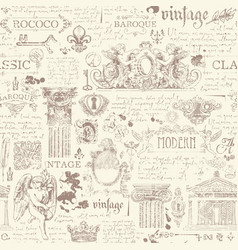 Seamless pattern with drawings in vintage style vector
