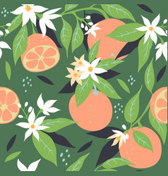 seamless pattern with oranges and flowers vector image