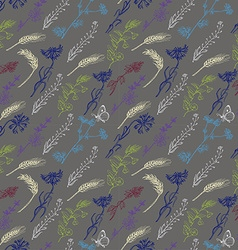 Seamless pattern with wild plants on a gray vector