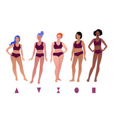Set body-positive female body types vector