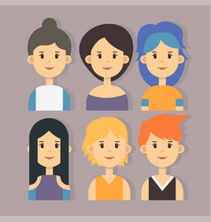 Set of stylish girls characters in modern vector