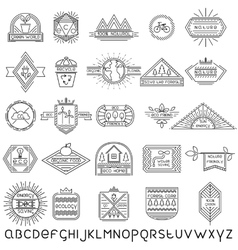 set thin linear ecology labels and font vector image