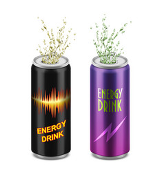Set two aluminum cans with energy drinks vector