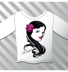 Shirt with a graphic beautiful girl vector image