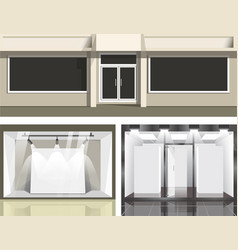 Shopping windows glass showcase and podium vector