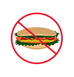 sign of prohibition hot dog hamburger fast food vector image