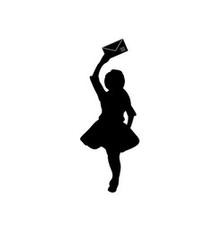 silhouette girl with a letter in her hand vector image