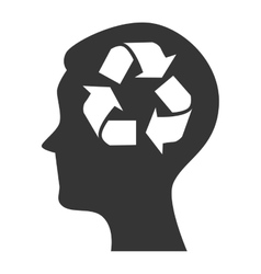 silhouette head icon recycle environment isolated vector image
