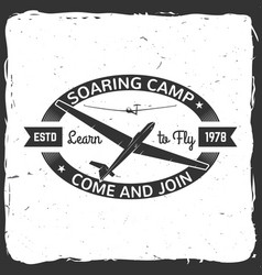 soaring camp retro badge vector image