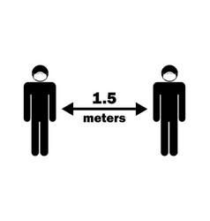 Social distancing 15 meters apart stick figure vector
