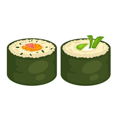 sushi rolls flat icons for japanese cuisine vector image