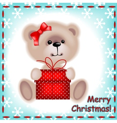 teddy bear girl with a christmas gift vector image