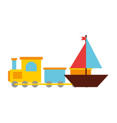 toys kids train and boat vector image