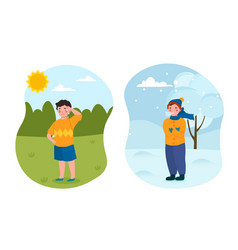 Two little kids are standing in different weather vector