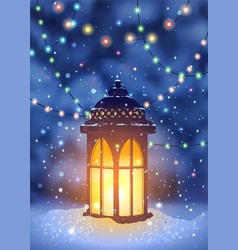 vintage lantern and magical snowfall vector image