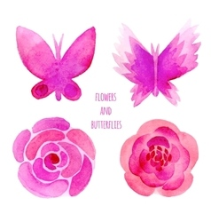 Watercolor flowers and butterflies set vector image