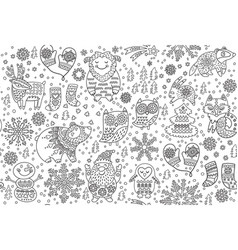 Winter seamless pattern with decorative fancy vector
