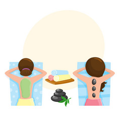 woman getting stone massage and mud mask spa vector image
