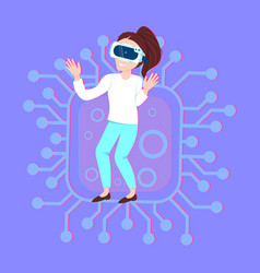 woman wear vr glasses over circuit background vector image