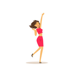 beautiful brunette girl in dancing move cheerful vector image vector image