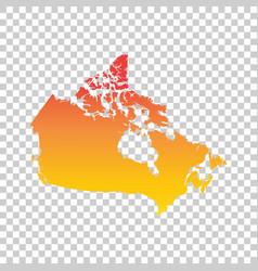 canada map colorful orange vector image vector image