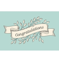 Greeting card with inscription Congratulations vector image